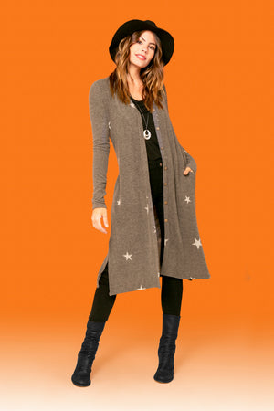 Small Star Side Slit Cardigan