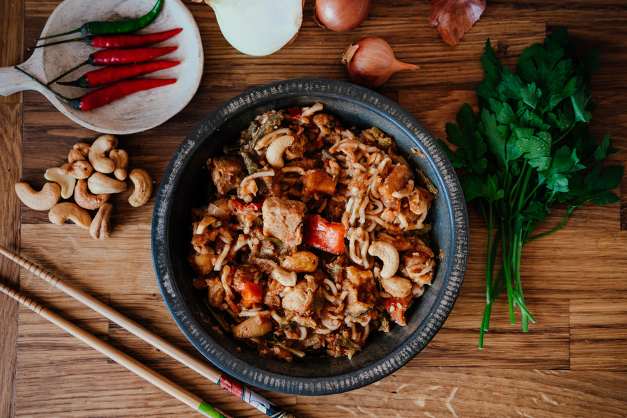 Kung Po Chicken with Egg Noodles