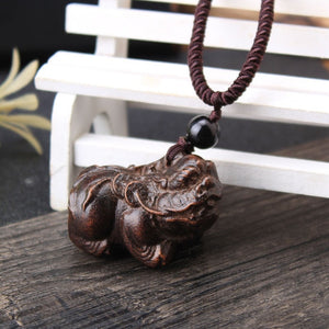SEDmart Vintage Ethnic Handmade Wood Carving Elephant Fish Pendant Necklace for Women Men Long Adjustable Sweater Chain Gift Hot - Hip and Trendy Home Decor & More