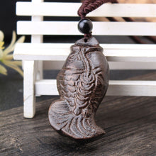 Load image into Gallery viewer, SEDmart Vintage Ethnic Handmade Wood Carving Elephant Fish Pendant Necklace for Women Men Long Adjustable Sweater Chain Gift Hot - Hip and Trendy Home Decor & More