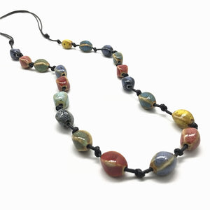 Vintage Bohemian Boho Style Colorful Ceramic Adjustable Long Necklace for Women Handmade Jewelry - Hip and Trendy Home Decor & More