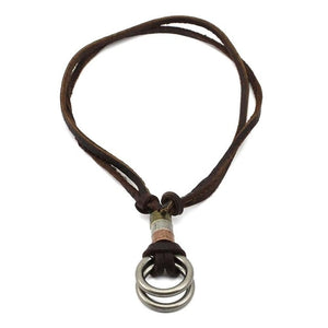 genuine leather male necklace 2019 high quality handmade cowhide men pendent retro charming jewelry resizable - Hip and Trendy Home Decor & More