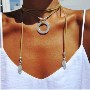 2019 Vintage Long Necklace Fashion Handmade Jewelry Wearing Multilayer Rope Leather Alloy Plant Leaf Charm Pendant Punk Necklace - Hip and Trendy Home Decor & More
