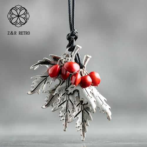 2019 Vintage Long Necklaces For Women And Men With Handmade Red Beans Retro Leaf Gift Leather Chain Pendant Necklace Jewelry - Hip and Trendy Home Decor & More
