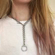 Load image into Gallery viewer, Cool Handmade Silver Chain Lock Pendant Choker Necklaces for Women Men Girl Punk Gothic Chains O- Round Pendant Collar Necklace - Hip and Trendy Home Decor & More