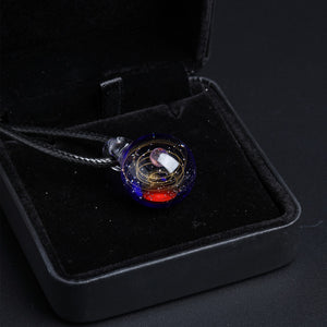 Nebula Galaxy Double Sided Pendant Necklace Glass Art Picture Handmade Statement Universe Planet Jewelry Necklace for Women - Hip and Trendy Home Decor & More