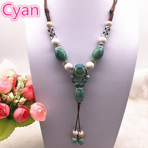 Fashion Ethnic Jewelry Traditional Handmade Ornaments Weave Wax Rope Ceramics Necklace Ceramics Beads Pendant Long Necklace #07 - Hip and Trendy