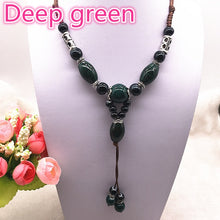 Load image into Gallery viewer, Fashion Ethnic Jewelry Traditional Handmade Ornaments Weave Wax Rope Ceramics Necklace Ceramics Beads Pendant Long Necklace #07 - Hip and Trendy