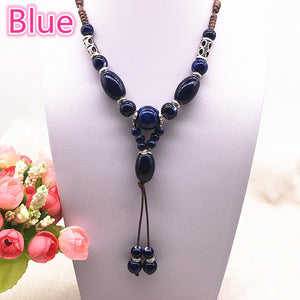 Fashion Ethnic Jewelry Traditional Handmade Ornaments Weave Wax Rope Ceramics Necklace Ceramics Beads Pendant Long Necklace #07 - Hip and Trendy Home Decor & More