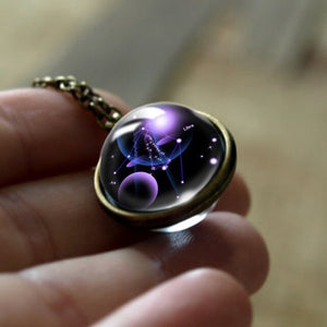 12 Constellations Double Side Glass Cabochon Pendant Necklace Zodiac Signs Vintage Chain Handmade Fashion Women Girl Jewelry - Hip and Trendy Home Decor & More