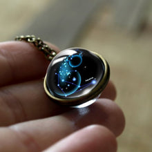 Load image into Gallery viewer, 12 Constellations Double Side Glass Cabochon Pendant Necklace Zodiac Signs Vintage Chain Handmade Fashion Women Girl Jewelry - Hip and Trendy Home Decor & More