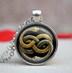 New Neverending Story Necklace Hogwarts Slytherin Crest Pendant Jewelry Handmade Link Chains Pendants Glass Dome Necklaces HZ1 - Hip and Trendy Home Decor & More