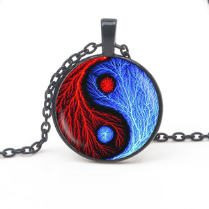 Vintage Yin Yang gossip pendant necklace jewelry glass dome witchcraft pendant fashion crystal DIY handmade ladies necklace gift - Hip and Trendy Home Decor & More