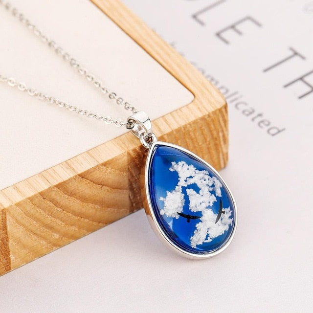 2019 Blue Sky White Clouds Pattern Pendant Necklace Handmade Resin Ball Shape for Moon Shape Pendant for Women Men Fashion Gift - Hip and Trendy Home Decor & More