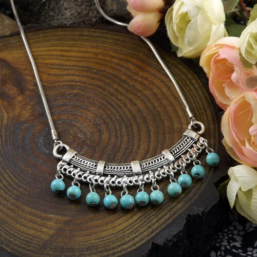 Chinese miao Silver Necklace Turquoise sweater Chain Necklace Turquoise Pendant original handmade folk style - Hip and Trendy Home Decor & More