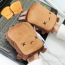 Load image into Gallery viewer, USB Warmer Heated Gloves Cute Hand Warmers Gloves Fingerless Cute Toast Shape New Year Christmas Gift Winter Gloves - Hip and Trendy Home Decor & More
