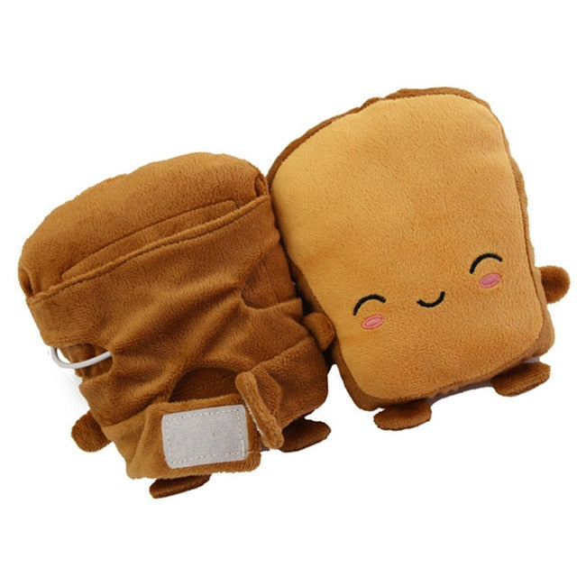 USB Warmer Heated Gloves Cute Hand Warmers Gloves Fingerless Cute Toast Shape New Year Christmas Gift Winter Gloves - Hip and Trendy Home Decor & More