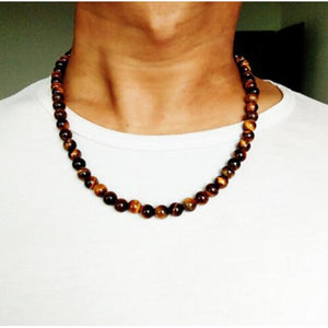 OAIITE Trendy Men Necklace 6/8mm Black Volcanic Lava Stone Choker Rock Beads Necklace Men Jewelry Handmade Collar Dropshipping - Hip and Trendy Home Decor & More
