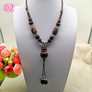 Fashion Ethnic Jewelry Traditional Handmade Ornaments Weave Wax Rope Ceramics Necklace Ceramics Beads Pendant Long Necklace - Hip and Trendy Home Decor & More