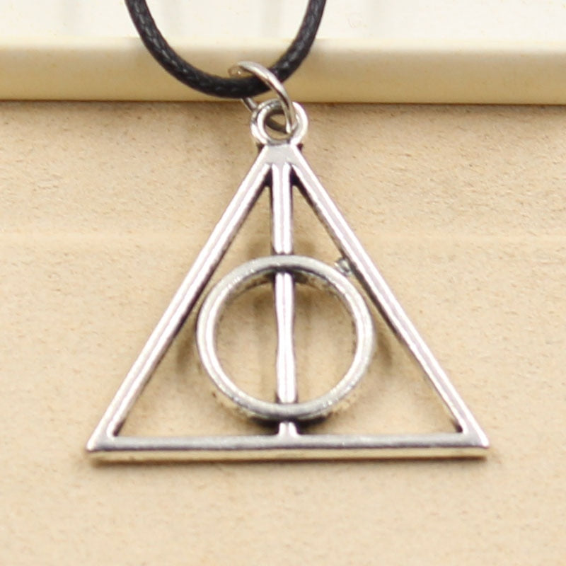 New Fashion Tibetan Silver Pendant Deathly Hallows Necklace Choker Charm Black Leather Cord Factory Price Handmade jewelry - Hip and Trendy Home Decor & More