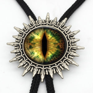 BOLO-0019 New Arrival Dragon Eye Cowboy Bolo Tie Handmade Glass Dome Sauron Eye Jewelry Glass Cabochon Neck Tie - Hip and Trendy Home Decor & More
