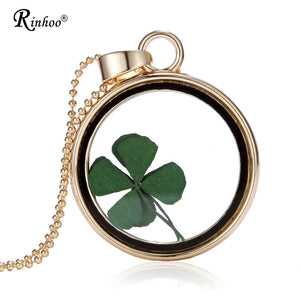 Handmade Natural Real Dried Flower Lucky Four Leaf Clover Resin Round Glass 35MM Locket Pendant Necklace For Women Jewelry - Hip and Trendy Home Decor & More