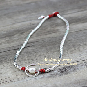 Anslow Fashion Jewelry Handmade Silver Beads Charm Wrap Moon Shape Imitational Pearls Women Party Necklace Jewelry LOW0047AN - Hip and Trendy