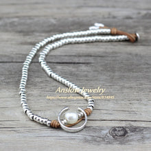 Load image into Gallery viewer, Anslow Fashion Jewelry Handmade Silver Beads Charm Wrap Moon Shape Imitational Pearls Women Party Necklace Jewelry LOW0047AN - Hip and Trendy