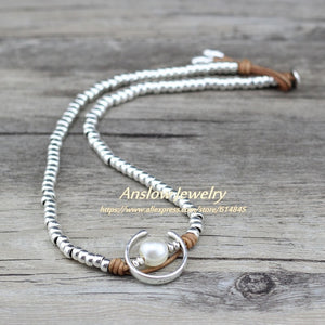 Anslow Fashion Jewelry Handmade Silver Beads Charm Wrap Moon Shape Imitational Pearls Women Party Necklace Jewelry LOW0047AN - Hip and Trendy Home Decor & More