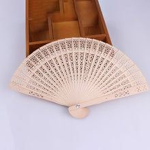 Load image into Gallery viewer, Hand-made Wooden Folding Fan Hollow Wood Carving Craft Fan Aroma Floral Pattern Ladies Temperament Dance Performance Wooden Fan - Hip and Trendy Home Decor & More
