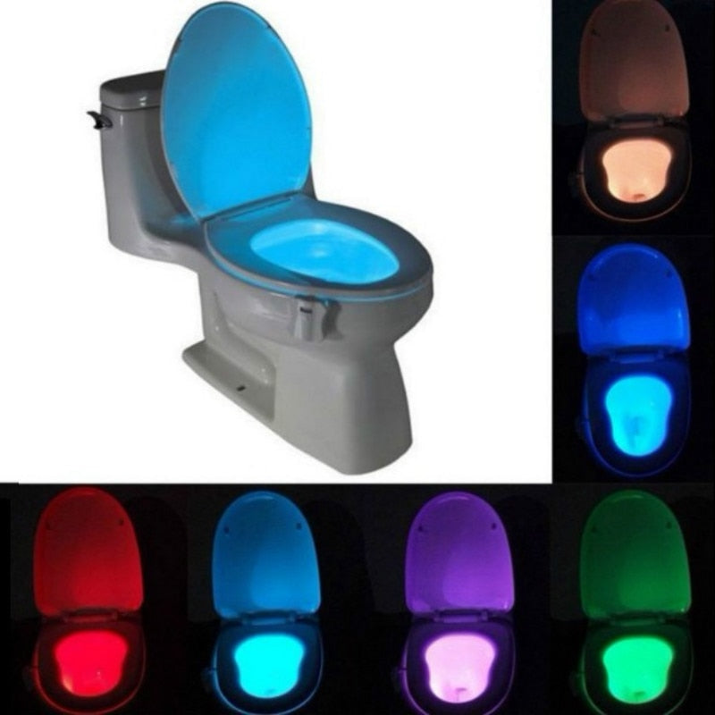 Sensor Toilet Bowl Lamp Toilet Seat Lifter LED Night Light Motion 8 Colors Smart Auto Activated Cuvette Bathroom Accessories - Hip and Trendy Home Decor & More
