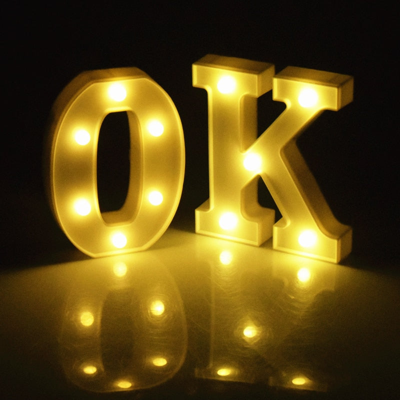 Luminous 26 English Alphabet Led Letter Light Creative Led Battery Night Lamp 16cm Romantic Wedding Party Room Letter Decoration - Hip and Trendy Home Decor & More