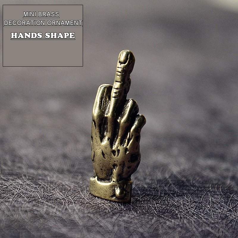 Mini Brass Hands Finger Up Statue Portable Punk Style Decoration Ornament Sculpture Home Office Desk Ornament Funny Toy Gift - Hip and Trendy Home Decor & More