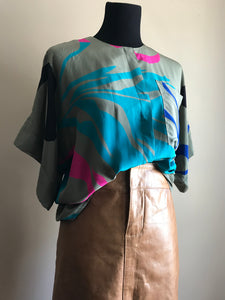 Vintage Silk Patterned Blouse (Med)
