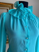 Load image into Gallery viewer, Vintage Ruffle neck blouse w/Pearl buttons (Med)