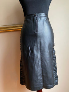 Rouched Leather Skirt (Lrg)