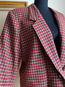 Red Plaid Blazer (Plus Size)