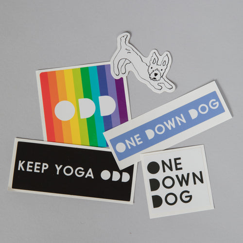Pack of five stickers with logo and dog