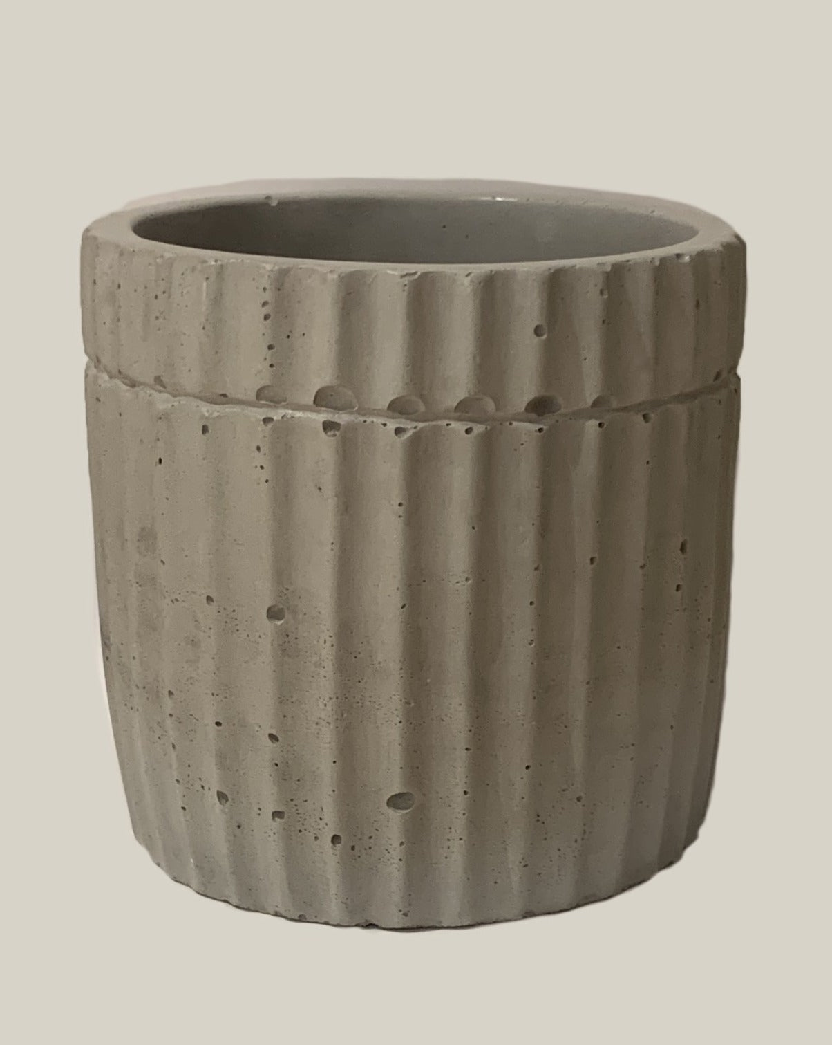 charcoal colored handmade fluted planter