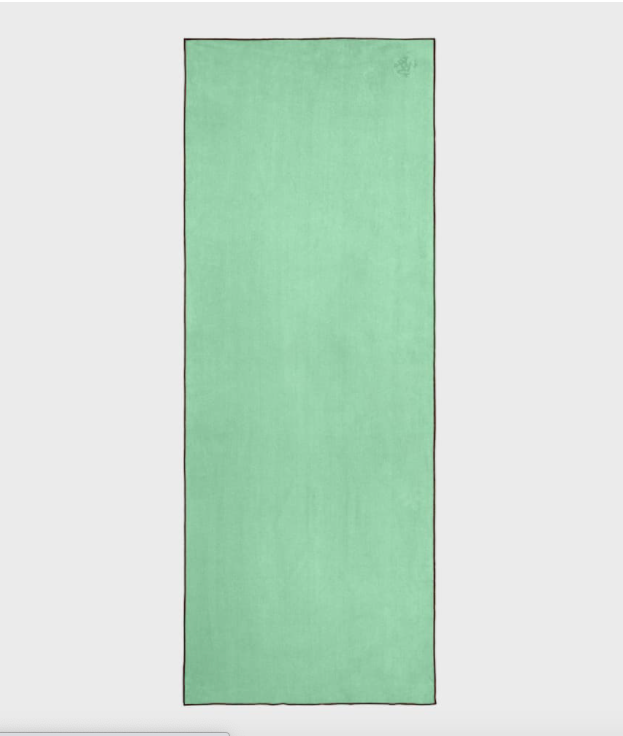 open light green yoga mat towel