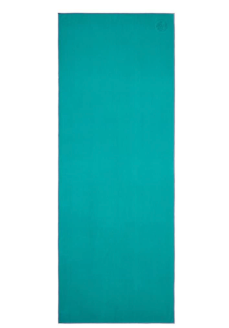 open teal yoga mat towel