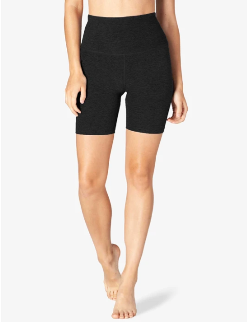 high waist biker shorts in dark grey