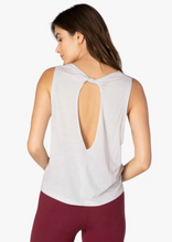 Load image into Gallery viewer, light grey tank top with cut out on back