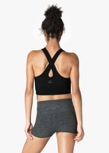 Load image into Gallery viewer, criss cross straps of black cropped tank top