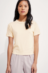 front view of cream colored short sleeve t-shirt
