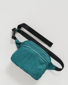 fanny pack in malachite color with all black strap