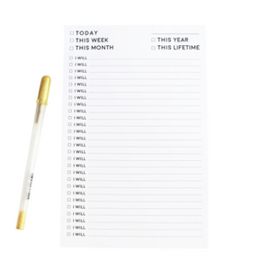 White task notepad with I Will statements in black and check boxes