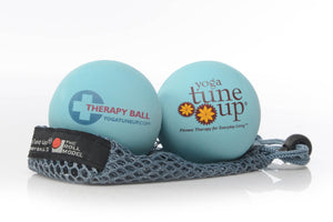 "Two blue massage balls printed with ""Therapy Ball"" & ""Yoga tune up. Fitness therapy for Everyday Living""on mesh bag"