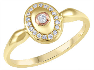 10K Yellow/Rose Gold Canadian Diamond (1) and Diamonds (18) Fancy Ring