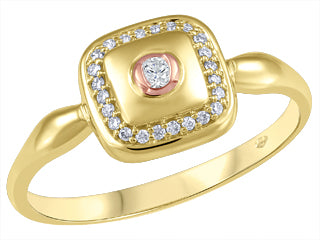 10K Yellow/Rose Gold Canadian (1) & Diamonds (24) Fancy Ring
